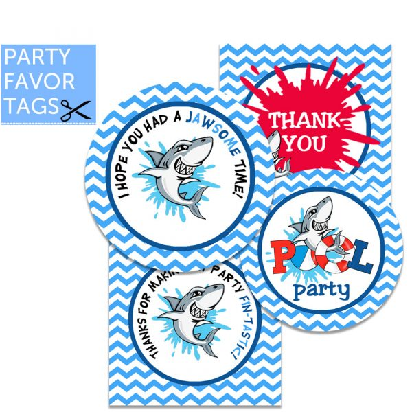 Shark Favor Tags - Instant Download Shark Party Favor Tags