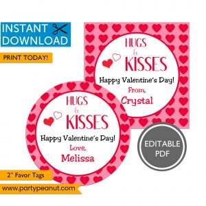 Hugs & Kisses Valentine's Day Tags