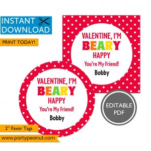 Valentine Beary Happy Valentines Tags