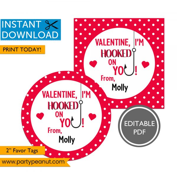 Valentine I'm Hooked on You Favor Tags