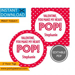 You Make My Heart POP Valentines Day Tag
