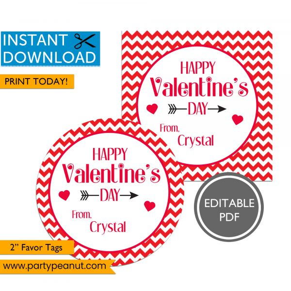 Happy Valentines Day Tag - Valentine Favor Tag