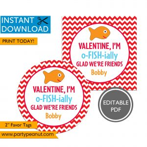 Valentine I'm o-FISH-ially Glad Valentines Day Tags