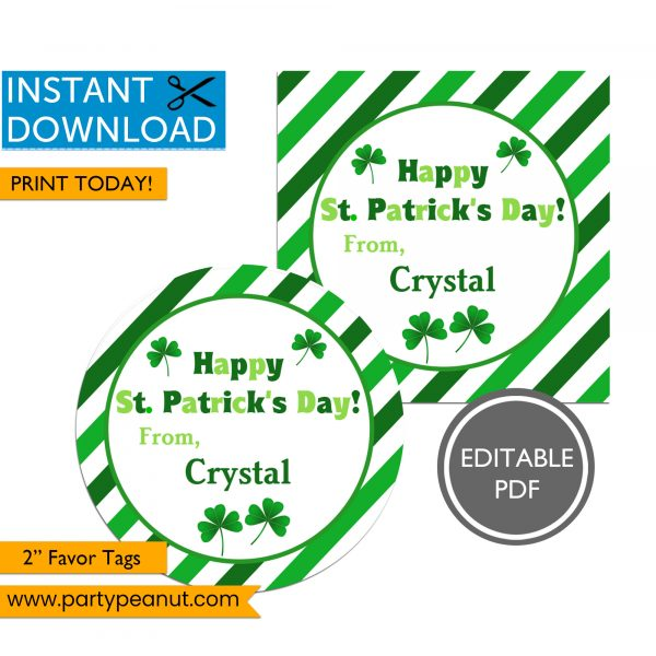 St Patrick's Day Party Favor Tags