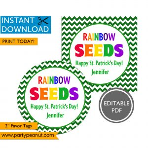 Rainbow Seeds St Patricks Day Tags