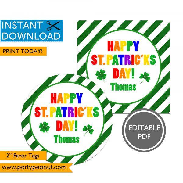 Happy St Patrick's Day Favor Tags