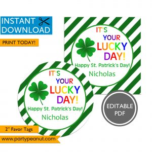 Its your Lucky Day St Patricks Day Tags