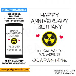 Quarantine Anniversary Card Editable
