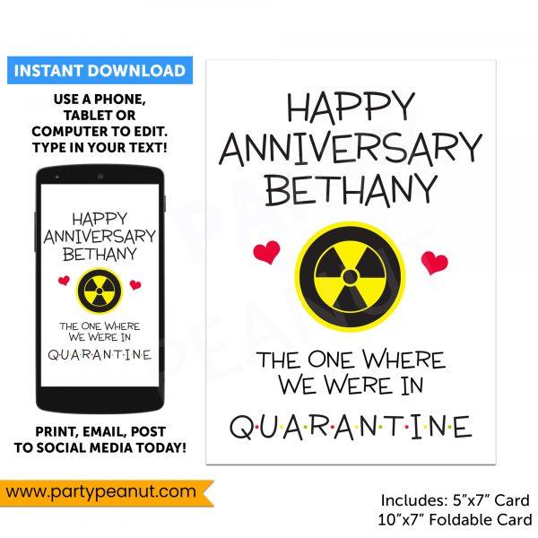 Quarantine Anniversary Card Editable