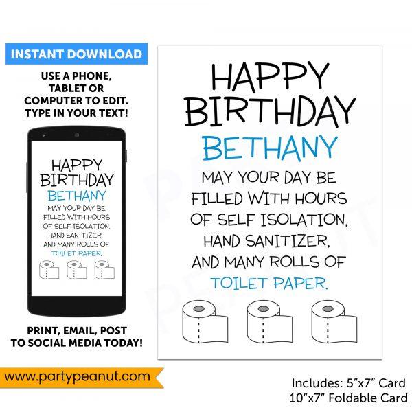 Quarantine Birthday Toilet Paper Card