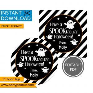 Spooktacular Halloween Ghost Favor Tags