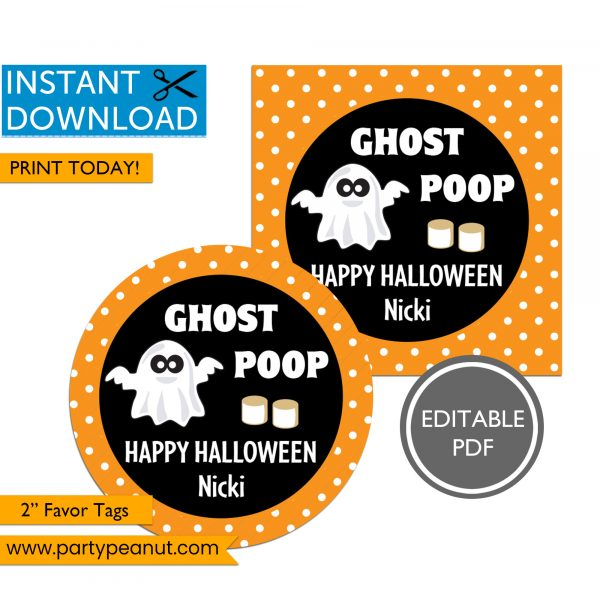 Ghost poop halloween party favor tags