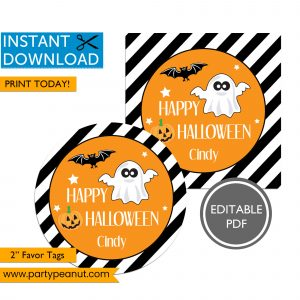 Ghost Happy Halloween Favor Tags
