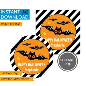 Happy Halloween Bat Favor Tags