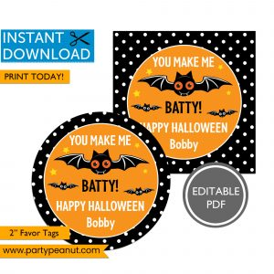You Make Me Batty Happy Halloween Tags