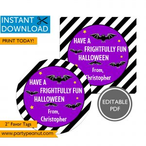 Bats Frightfully Fun Halloween Favor Tags
