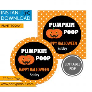 Pumpkin Poop Halloween Party Favor Tags