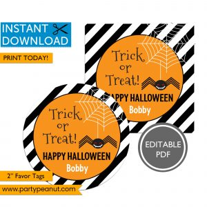 Trick or Treat Spider Halloween Tags