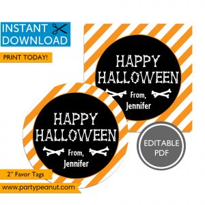 Bones Happy Halloween Favor Tags