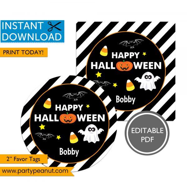 Happy Halloween Jack-O-Lantern Favor Tags