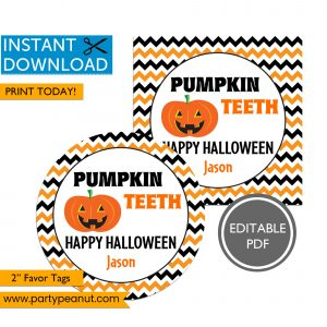 Pumpkin Teeth Halloween Party Favor Tags