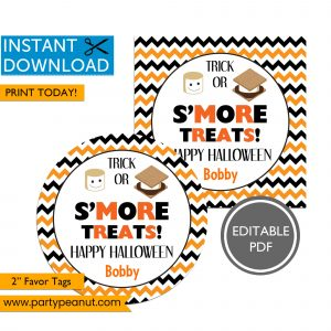 Smore Halloween Party Favor Tags
