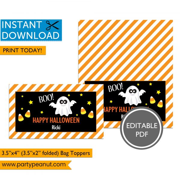 Boo Happy Halloween Ghost Bag Toppers