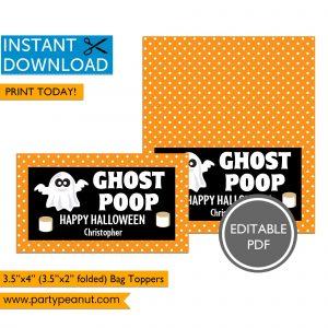 Ghost Poop Halloween Bag Toppers