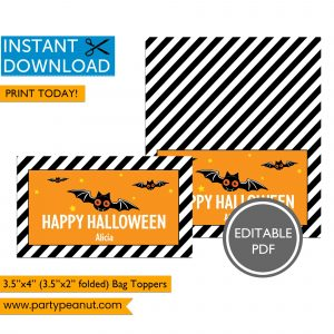 Happy Halloween Bat Bag Toppers
