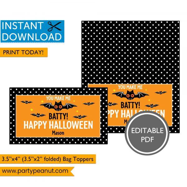 You Make Me Batty Halloween Bag Toppers