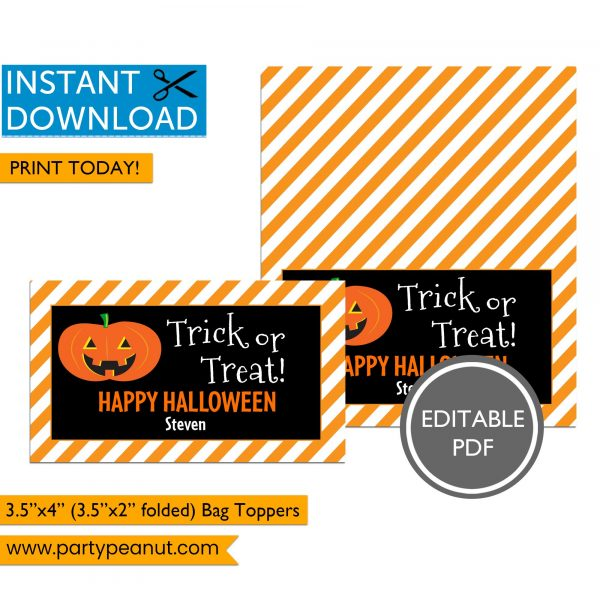 Trick or Treat Halloween Bag Toppers