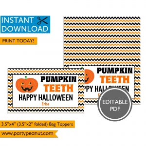 Pumpkin Teeth Halloween Bag Toppers