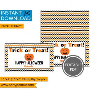 Trick or Treat Happy Halloween Bag Toppers