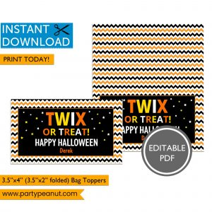 Twix or Treat Halloween Bag Toppers
