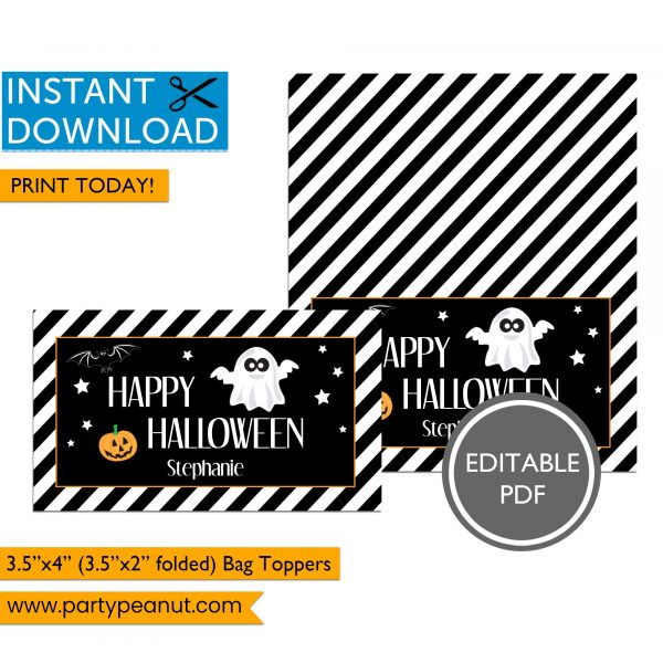 Happy Halloween Ghost Bag Toppers