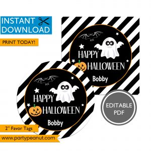Happy Halloween Ghost Favor Tags