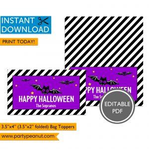Bat Happy Halloween Bag Toppers
