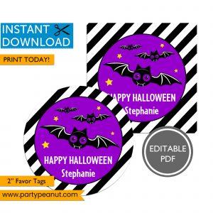 Happy Halloween Bat Party Favor Tags