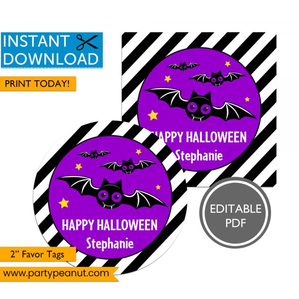 Happy Halloween Bat Party Favor Tags