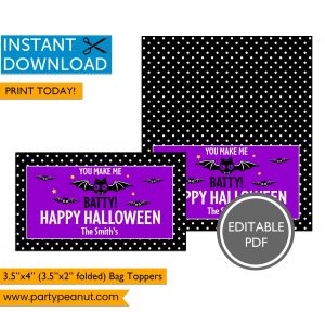 Batty Halloween Bag Toppers