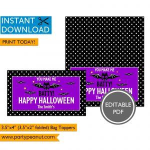 Batty Halloween Bag Toppers
