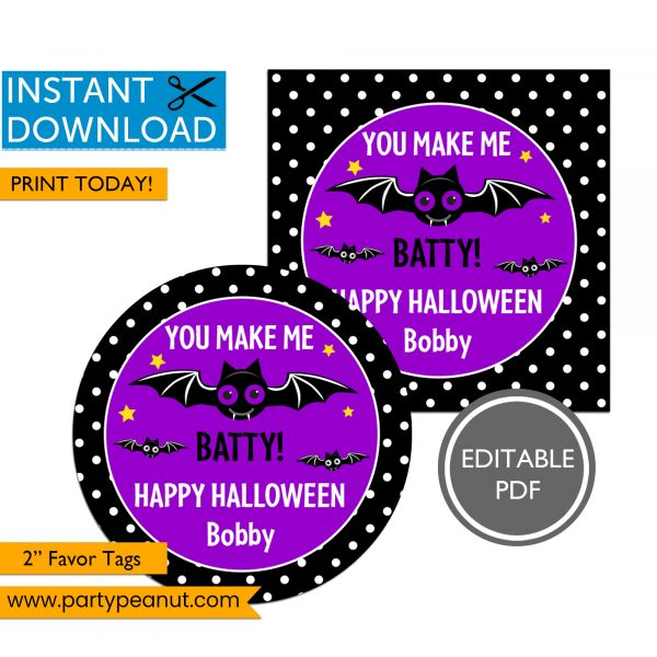 Batty Happy Halloween Tags
