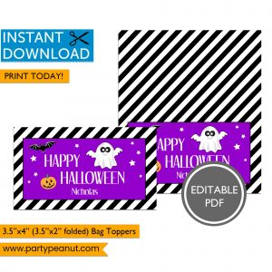 Ghost Halloween Bag Toppers