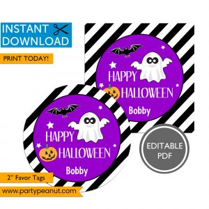 Halloween Favor Tags Ghost Bat Pumpkin