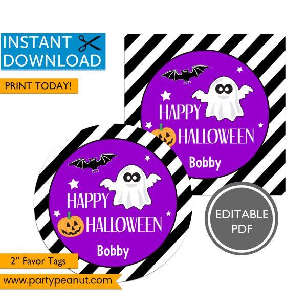 Halloween Favor Tags Ghost Bat Pumpkin